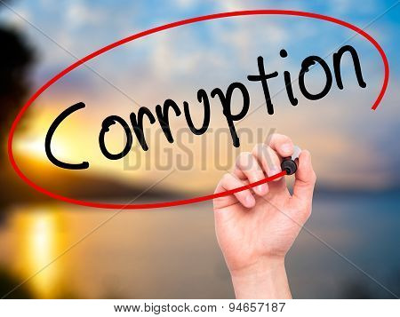 Man Hand writing Corruption with black marker on visual screen.