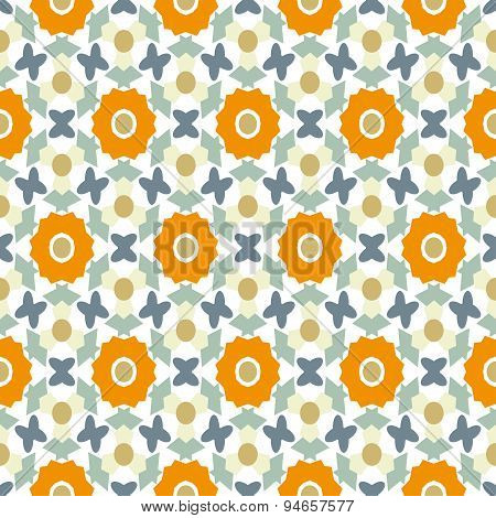 Abstract Geometric Seamless Pattern With Orange Flowers