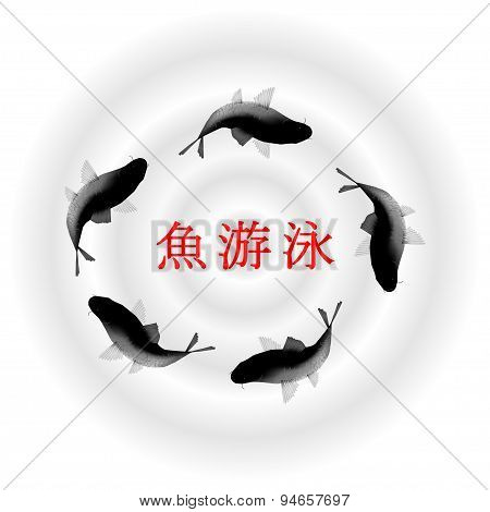 fish in water, Chinese vector