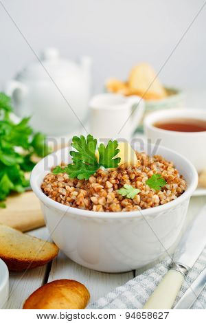 Healthy breakfast. Buckwheat porridge with parsley.