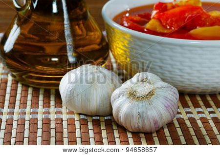 Still Life With Garlic And Olive Oil
