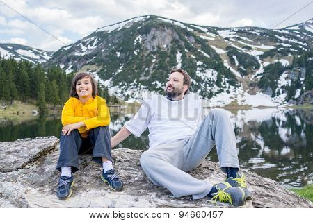 Father and son in mountain