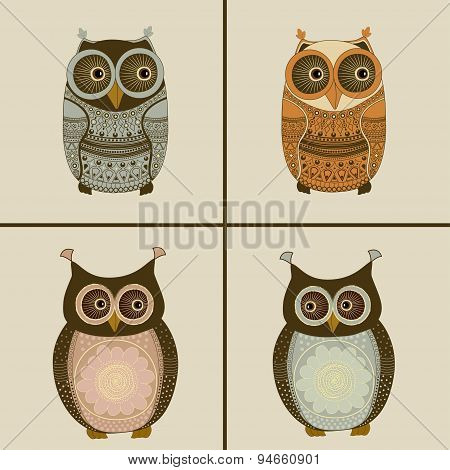 Four Stylized Owls