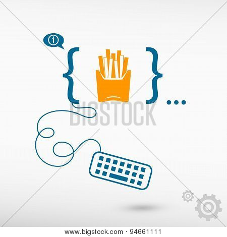 Fried Potatoes Icon And Flat Design Elements