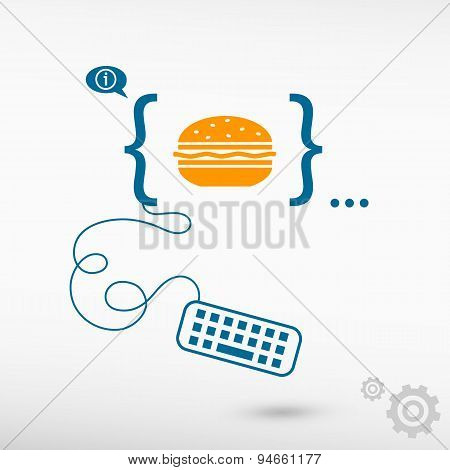 Hamburger And Flat Design Elements