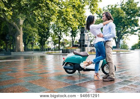 Young romantic couple having fun outdoors