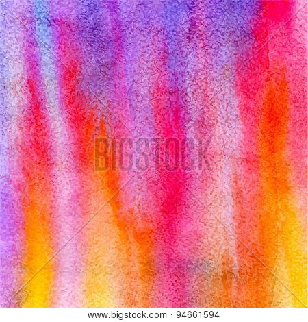 Vector Watercolor Illustration Abstract Pink, Violet And Orange Flames Background