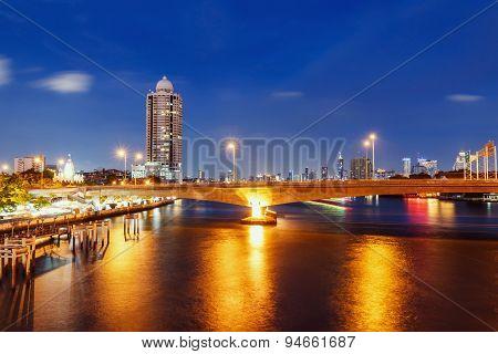 Landscapes  View Of Bangkok Cityscape At Night