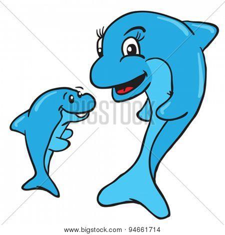 mom and baby dolphin cartoon illustration