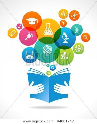 Open books and icons of science. The concept of modern education. This illustration contains a transparency