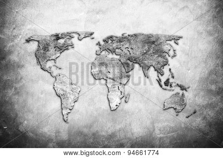 world map on concrete wall background