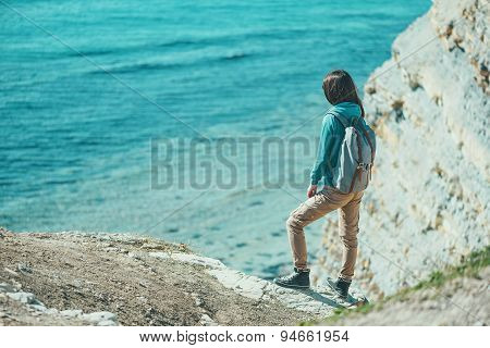 Girl Walking On Coast In Summer