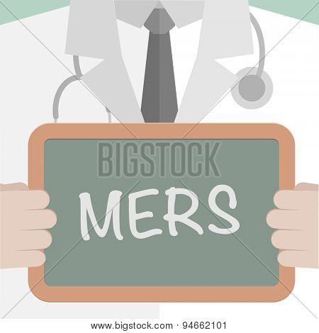 minimalistic illustration of a doctor holding a blackboard with MERS text, eps10 vector