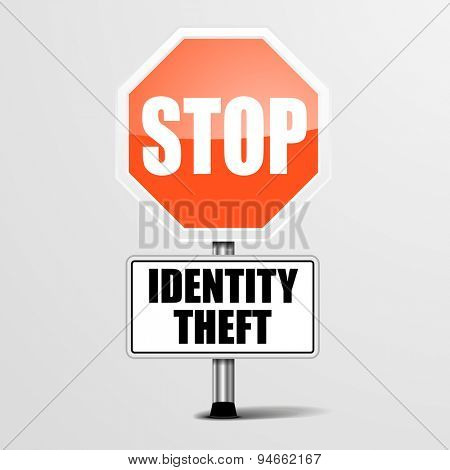 detailed illustration of a red stop Identity Theft sign, eps10 vector