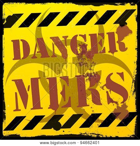 detailed illustration of a grunge MERS danger background, eps10 vector illustration