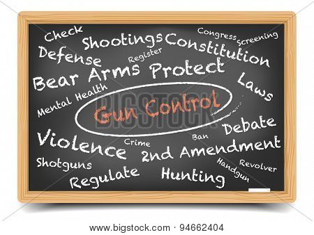 detailed illustration of a Gun Control wordcloud on a blackboard, eps10 vector, gradient mesh included
