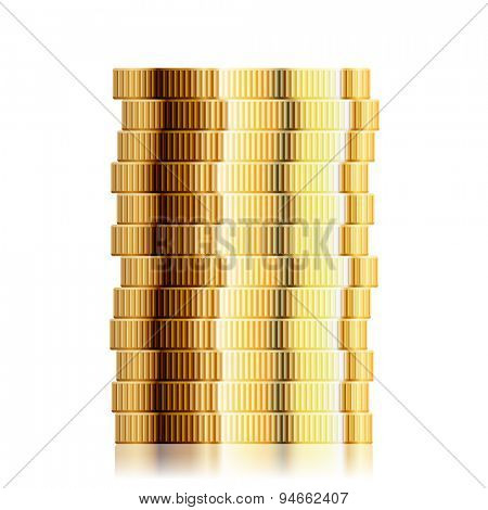detailed illustration of a coin stack, eps10 vector