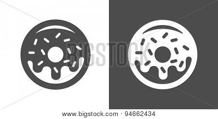 Doughnut icon. Two-tone version of donut vector icon on white and black background. Small fried cake of sweetened dough, in the shape of a ring.