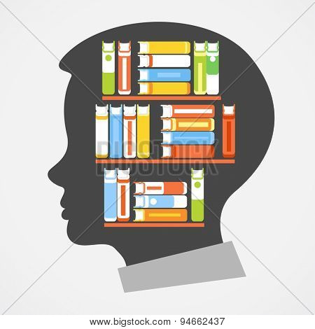 Silhouette of the child's head with shelves and books. Concept of Education