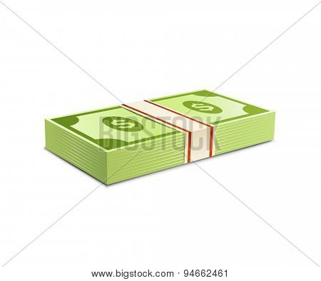 Money bundle of dollars bank notes. Pack of dollars. Vector illustration. Packs of dollars money