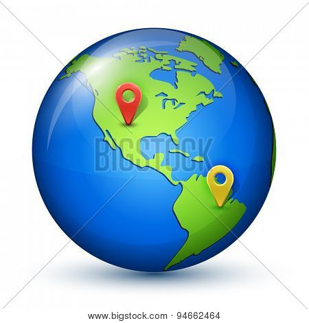 Glossy globe with geo marks. Navigation concept. Vector illustration