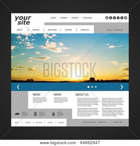 Unique Website Design Template for Your Business with Sunset Photo Background