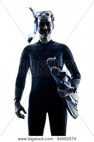 one caucasian man Snorkelers Snorkeling  in studio  silhouette isolated on white background