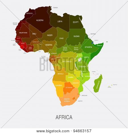 Africa Map Colored Countries Shapes
