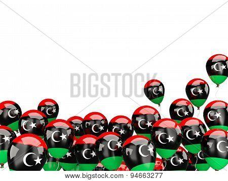 Flying Balloons With Flag Of Libya
