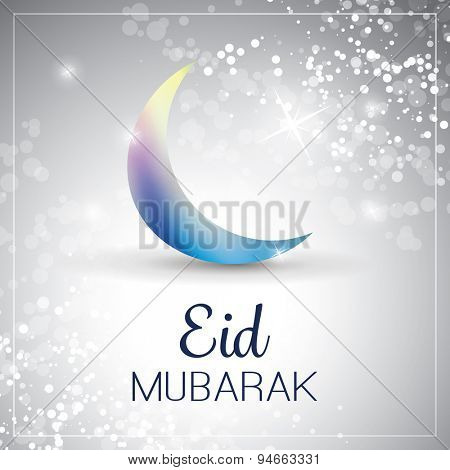 Eid Mubarak - Moon in the Sky - Greeting Card for Muslim Community Festival