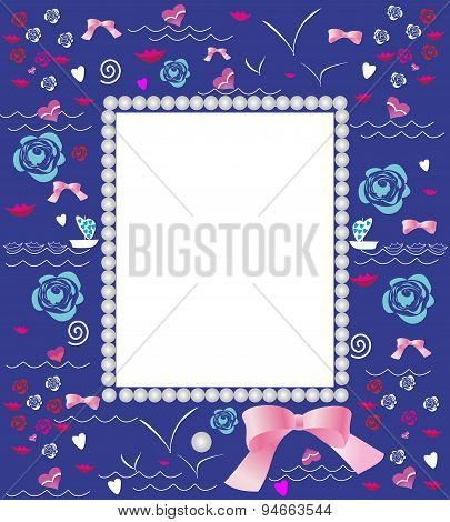 Frame with marine elements for photo