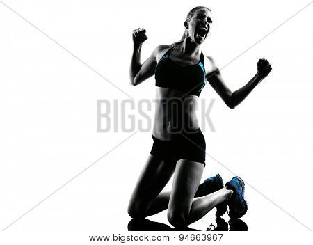 one caucasian woman runner running celebration winner success  in studio silhouette isolated on white background