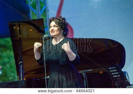 MOSCOW - JUNE 20: Hibla Gerzmava performs at XII International Jazz Festival