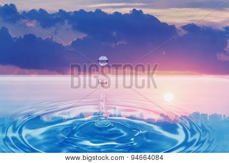 Water Droplet With Cloud , Sunset Sky
