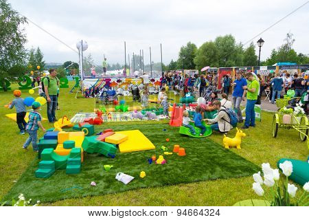MOSCOW - JUNE 21: Unidentified children have fun on playground at XII International Jazz Festival