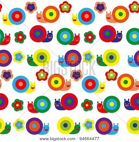 Seamless pattern with pretty snails on different background