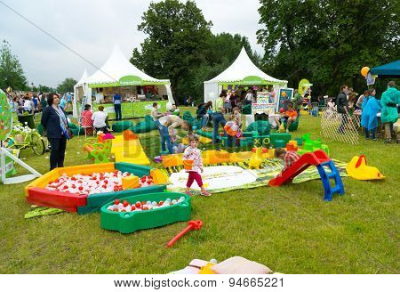 MOSCOW - JUNE 20: Unidentified children have fun on playground at XII International Jazz Festival