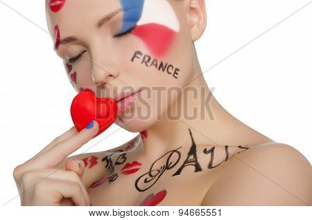 Portrait Of Beautiful Woman To French Theme