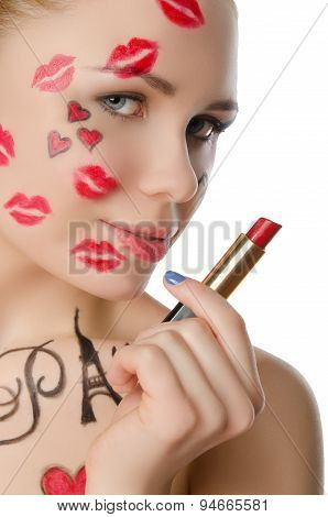 Charming Woman With Face Art On Theme Of Paris