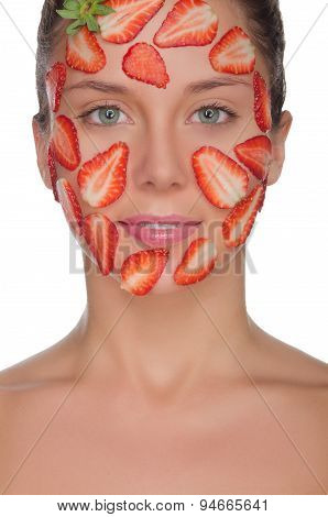 Charming Woman With Mask Of Strawberries