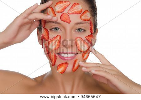 Happy Woman With Mask Of Strawberries