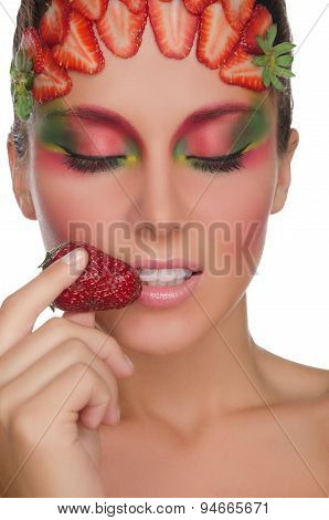 Smiling Woman With Strawberries On Face And Hand