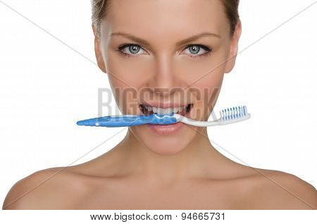 Portrait Happy Woman With Toothbrush In Teeth