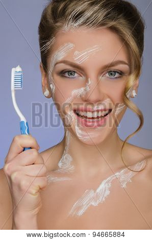 Charming Woman With Toothbrush And Toothpaste