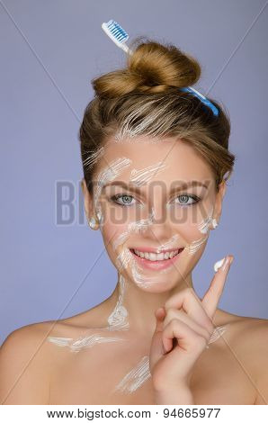Woman In Toothpaste On Body And Your Finger