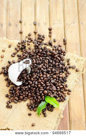 Coffee Beans With White Cup And Green Leaves