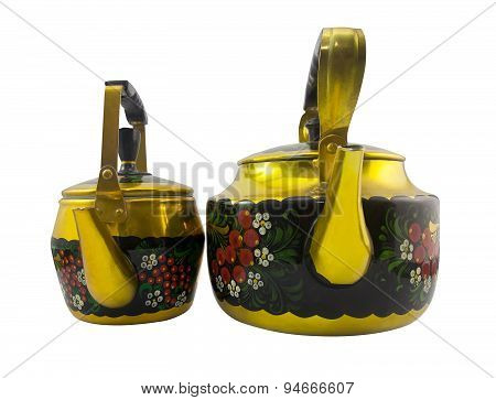 Isolated two Russian style kettles.