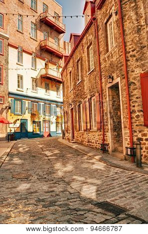 Old Quebec Street At Day, Hdr