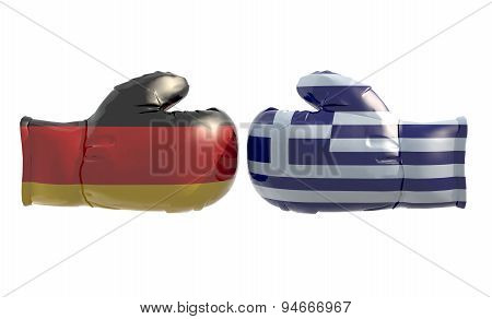 Boxing Gloves With German And Greek Flag