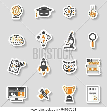 Education Icon Sticker Set